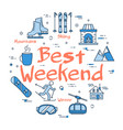 blue best weekend in mountains concept vector image vector image
