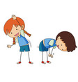 boy and girl stretching vector image