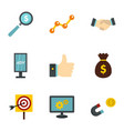 business company icons set flat style vector image vector image