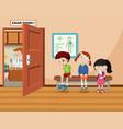 children wait in front of exam room vector image vector image