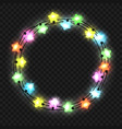 christmas star light garland on transparent vector image vector image
