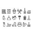 cleaning icons set washing machine ironing vector image