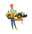 confident hindu builder with arms crossed vector image vector image