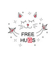 cute cartoon hand drawn cat vector image vector image