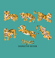 cute fat tiger sticker pack vector image vector image