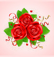 decorative bouquet of red roses vector image