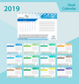desk calendar 2019 simple colorful gradient vector image