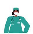 female doctor in uniform wearing mask to prevent vector image vector image