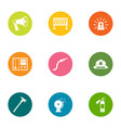 fire exercises icons set flat style vector image vector image