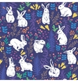 Floral pattern with white bunnies vector image vector image