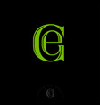 g e green letters monogram vector image vector image