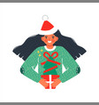 girl with green christmas pine tree gift isolated vector image vector image