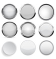 glass and plastic buttons collection white round vector image