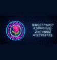 glowing neon sign floral store in round frames vector image