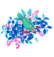 green parrot sitting on tropical plants vector image vector image