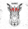 hipster animal rabbit in crown vector image