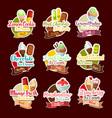 ice cream desserts stickers vector image vector image