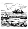 icebreaker sails on horizon vector image vector image