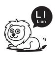 L Lion cartoon and alphabet for children to vector image vector image