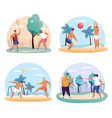 man and woman playing badminton frisbee soccer vector image vector image
