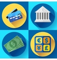 Money and bank icon set Flat designed style vector image vector image