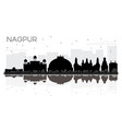 nagpur india city skyline black and white vector image vector image