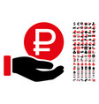 rouble coin payment icon with 90 bonus pictograms vector image vector image