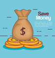 save money bag icon vector image