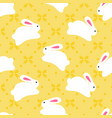 seamless pattern of white bunnies on orange vector image vector image