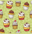 seamless pattern with cupcakes vector image vector image