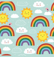 seamless pattern with cute rainbow cloud sun vector image vector image