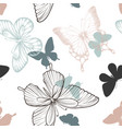 Seamless pattern with decorative butterflies in