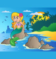 seascape with cartoon mermaid vector image