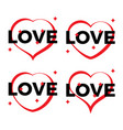 set of four red heart outlines vector image