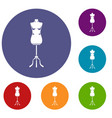 sewing mannequin icons set vector image vector image