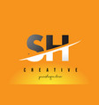sh s h letter modern logo design with yellow vector image vector image