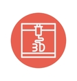 Three D printer thin line icon vector image vector image