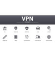 vpn simple concept icons set contains such icons vector image