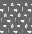 white bear in winter forest vector image