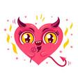 cute devil heart vector image