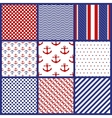 Set of Geometric Patterns in Marine Style vector image