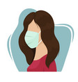 a girl in a medical mask protective measures vector image vector image