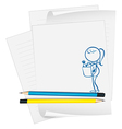 A paper with a sketch of a lady vector image vector image