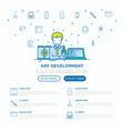 app development developer coding on laptop vector image vector image