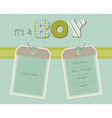 baby boy arrival card with photo frame in vector image vector image
