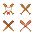 baseball bit icon set cartoon style vector image vector image