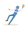 baseball player in a blue uniform pitching vector image vector image