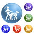 blind girl dog guide icons set vector image