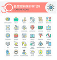 blockchain and fintech icons vector image vector image