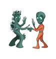 cartoon alien meeting and handshake in space vector image vector image